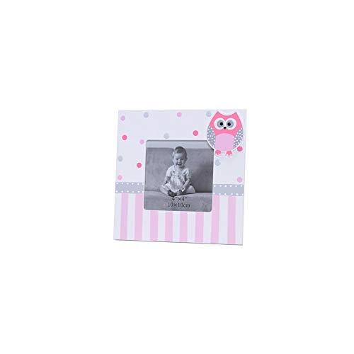 DISOK - Set di 12 portafoto quadrato con motivo gufi rosa - portafoto, cornici originali per battesimi.