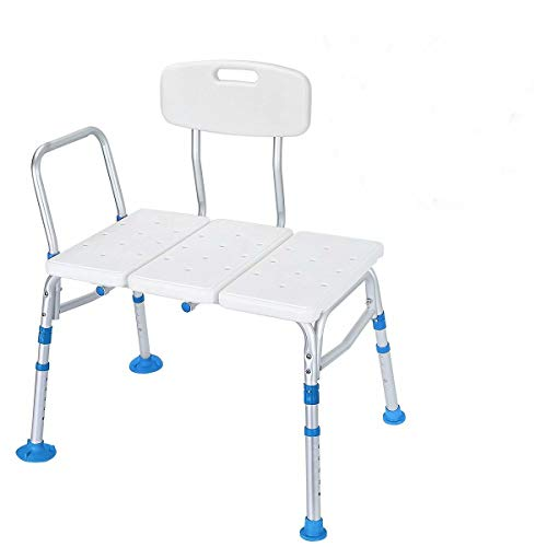 Health Line Massage Products Tool-Free 400 lbs Transfer Bench, Adjustable Shower Tub Bath Chair w/Reversible Back and Non-Slip Feet for Elderly, Disabled, Seniors & Bariatric - Free Back Scrubber