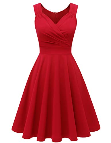 bridesmay 1950er V-Ausschnitt Rockabilly Kleid Vintage Retro Knielang Cocktailkleid FaltenrockRed XL