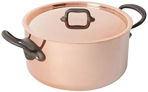 Mauviel MHeritage M150C Copper Dutch OvenStew pan with Lid 56L59 quart 24cm95 with Cast Stainless Steel Iron Eletroplated Handle