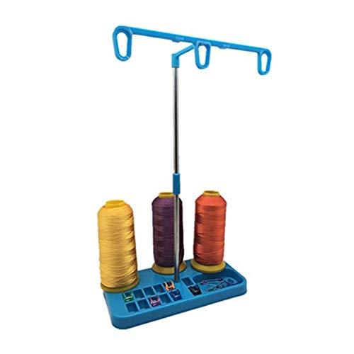 Hilo de Coser Soporte Ajustable del sostenedor 3 del Hilo Carretes de plástico Opcionales Fácil de Usar (Color : Blue)