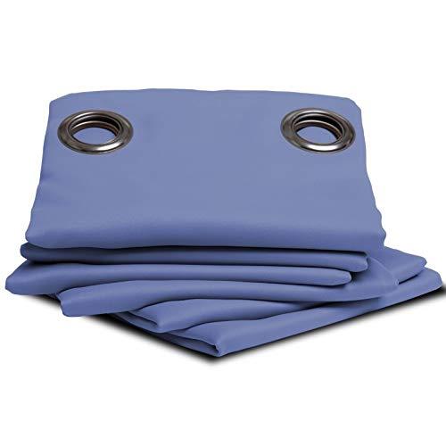 Moondream Feuerfester Verdunkelungsvorhang, schwer entflammbar, M1-Zertifiziert, Blau - Lobelia, 140 x 260 (BxH) cm, Ösen (1 Vorhang)