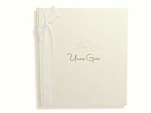 v. transehe design Gästebuch zur Hocheit, 36 Blatt (72 Seiten), mit Goldprägung, Creme, 24,8 x 22,8 cm, Gästebuch-Album zum Geburtstag, Hochzeit, Jubiläum