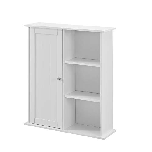 [en.casa] Badezimmerschrank weiß - 71 x 60 x 18cm - Badschrank Wandschrank Schrank Regal