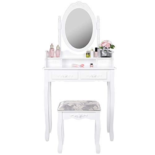 EUCO Coiffeuse avec Miroir et Tabouret, Coiffeuse Moderne Blanche Table de Maquillage en Bois,Tiroir à 4 Fleur,Coiffeuse Enfant/Femme,Meubles de Salle de séjour