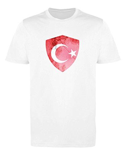 Comedy Shirts - Türkei Trikot - Wappen: Groß - Wunsch - Herren Trikot - Weiss/Rot Gr. XL