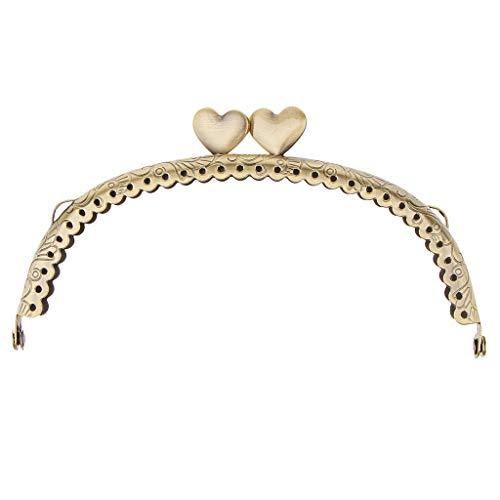 P Prettyia Vintage Metall Taschenrahmen Taschenbügel Taschenverschluss Taschenhenkel zum Einnähen Herz Verschluss Rahmen - 12.5x7cm