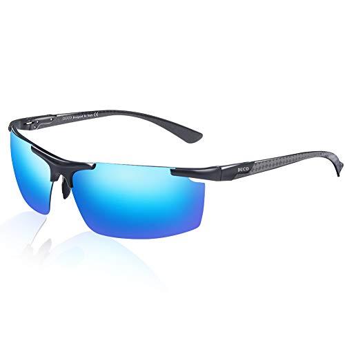 DUCO Herren Polarisierte Sonnenbrille mit Metallrahmen und Kohlefaser Brille Beine 8207 (Schwarz Rahmen Blau Linse)