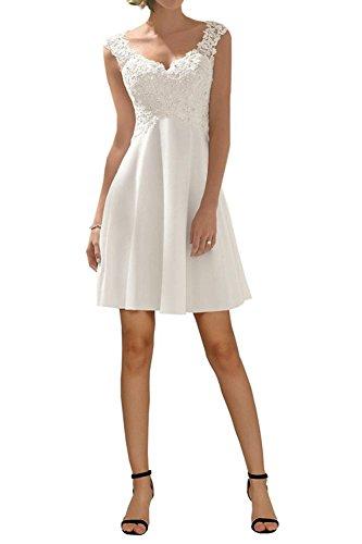 Carnivalprom Damen V-Ausschnitt Hochzeitskleid Kurz Romantisch Brautkleid Festkleid Abendkleider (Weiß,38)
