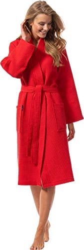 Morgenstern Bademantel für Damen aus Bio Baumwolle ohne Kapuze in Rot Waffelpique Mantel wadenlang Haus Bademantel Baumwolle Größe S Paula