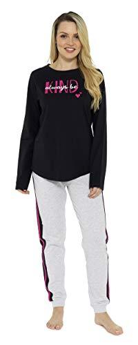 CityComfort Schlafanzüge Damen Lang | Fleece Damen Zweiteiliger Schlafanzug | Ganzkörperanzug Pyjama Damen Mädchen Lang | Geschenk für Frauen, Geburtstag, Weihnachten (36/38 EU, Schwarz und Grau)