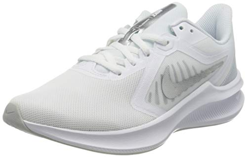 NIKE Downshifter 10, Zapatillas Mujer, White/Metallic Silver-Pure Platinum, 37.5 EU