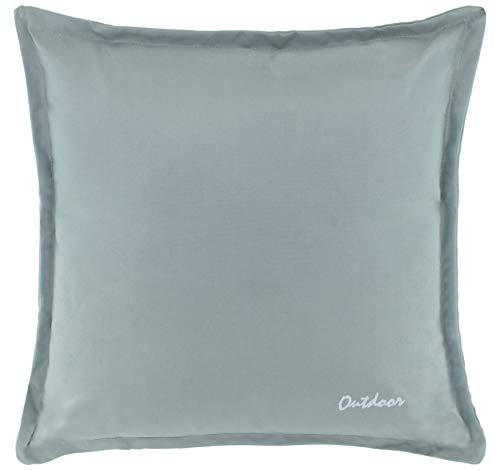 Brandsseller Outdoor Kissen Dekokissen - Schmutz- und Wasserabweisend mit Reißverschluss 2 cm Steg - 350 gr. Füllung - Größe: 48 x 48 cm - Farbe: Hellgrau