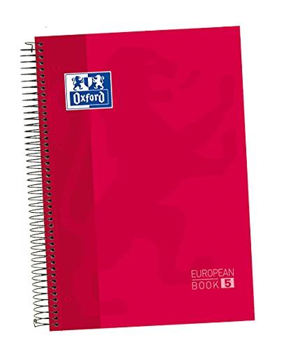 Oxford - Cuaderno microperforado 5 bandas color, Europeanbook 5, tapa dura, A4, 120 hojas, cuadrícula 5 x 5, color rojo