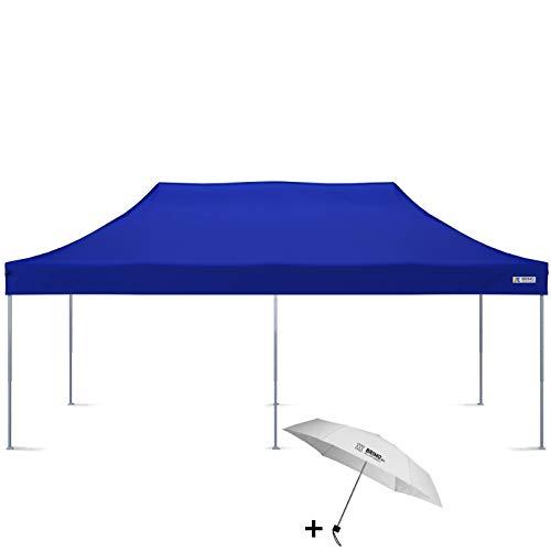 Faltpavillon + Freier Regenschirm (3x6m, Blau)