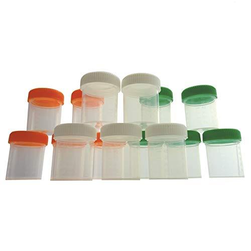 KENZIUM - Set de 15 Frascos Graduados de Laboratorio, para Muestras de 80 ml | de Cuello Ancho, de Plástico, Con Tapas Multicolor de Rosca, Contenedores de Recogida, Color Naranja, Blanco y Verde