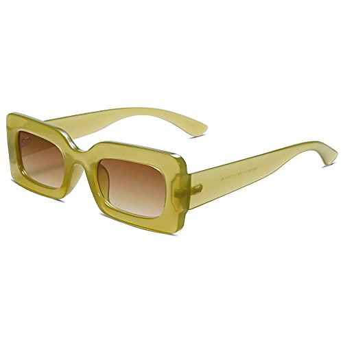 SOJOS Retro 90s Nude Rectangle Sunglasses For Women Trendy Chunky Glasses Green Frame Brown Lens