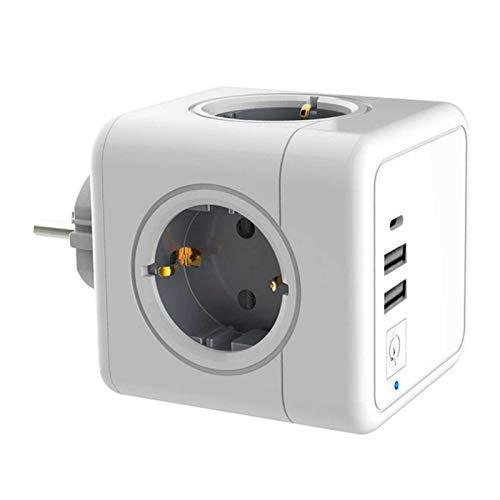 Honeyhouse USB Steckdose Steckdosenwürfel Weiß, 4 Steckdosen mit 2 USB Ladegerät Anschluss und 1 Typ-C Port, 7-in-1Adapter mit USB Ladegerät, kompatibel für Haushaltsgerät Büro, Zuhause und Reisen