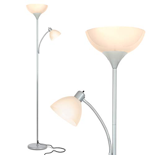 Brightech Sky Dome Plus - Super Bright LED Torchiere & Reading Floor Lamp - Dimmable Modern Standing Pole Lamp for Office, Living Room – Tall Mother-Daughter Lights for Bedroom Night Lighting – Silver