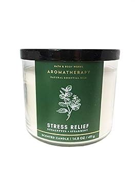 Bath & Body Works Aromatherapy Stress Relief 3-Wick Candle Eucalyptus Spearmint
