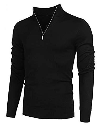 COOFANDY Men's Quarter Zip Sweaters Slim Fit Lightweight Cotton Mock Turtleneck Pullover (01-Black, Medium)