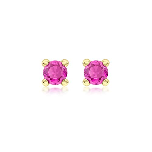 Carissima Gold Women's 9ct Yellow Gold Ruby 4mm Cubic Zirconia July Birthstone Stud Earring