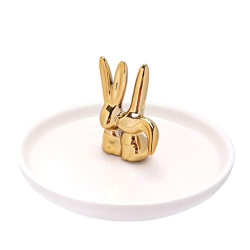 UPKOCH Keramik Schmuck Tablett Servierplatten Dekorative Lebensmittelplatte Ohrring Halskette Veranstalter für Snack Dessert Kosmetik Schmuck Badezimmer