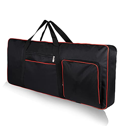 61 Key Keyboard Case Gig Bag Padded, Keyboard Cover, Portable Electric Keyboard Piano 600D Oxford Cloth with 10mm Cotton Case Gig Bag 40'x16'x6' GJB54 (black+red)