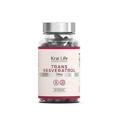 Trans-Resveratrol 100 mg, hochdosiertes Resveratrol aus japanischem Staudenknöterich, Polygonum cuspidatum | 90 vegane Kapseln | Antioxidantische Wirkung | Vegan, glutenfrei, ohne GVO