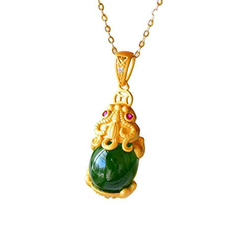 MLDFS Natural Jade Pixiu Fortune Necklace,Pendant Jade Fortune and Prosperity Pixiu Pendant, Natural Pendant Feng Shui Chinese Ruyi Necklace (Green)
