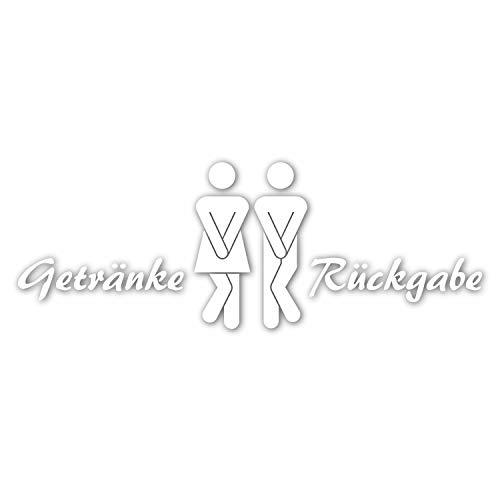 WC-sticker Drankenretour I Vrouw en man symbool met tekst I Unisex deursticker Wandsticker voor toilet en gastentoilet wit