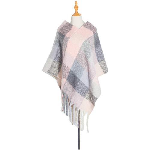 Memefood Bufanda de invierno grande, mantón suave y grueso borlas a cuadros abrigados para señoras