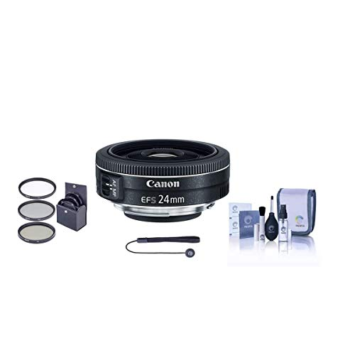 Canon EF-S 24mm f/2.8 STM Wide Angle Lens - Bundlewith 52mm Filter Kit (UV/CPL/ND2), Cleaning Kit, Capleash