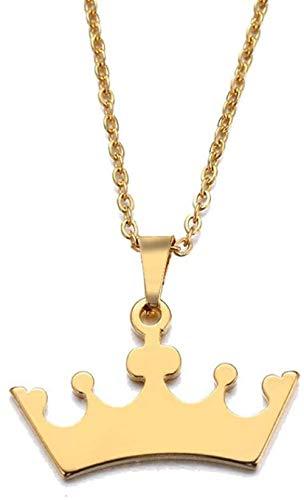 Collar Collar de mujer Collar de acero inoxidable para mujer Corona de amante de dibujos animados Joyas de oro con colgante de color dorado y plateado-Color doradoPulseras de collares para mujeres Hom