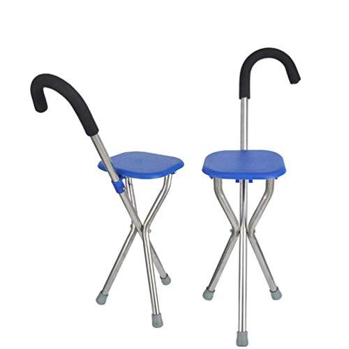 MAGO Sticks Dreibeiniger Gehstütze Gehhilfe Faltbar Gehstock Mit Integriertem Sitz Ergonomischer Griff Wanderstock Und Schaumstoffgriffabdeckung Für Alter Mann,Blau