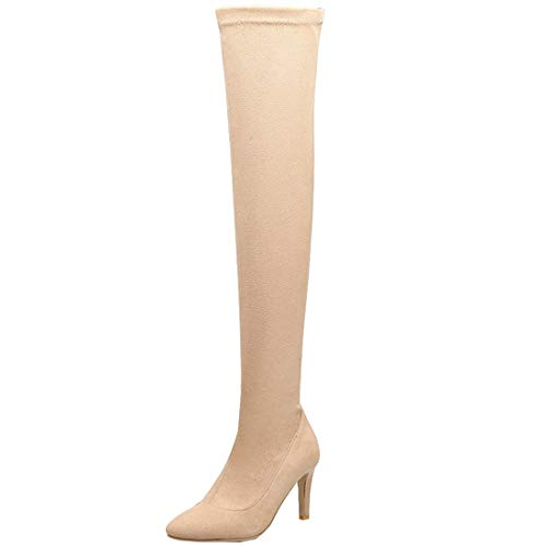 AIMODOR Damen Stretch Overknee Stiefel High Heels Stilettos Thigh High Stiefel mit 8.5cm Absatz beige 41