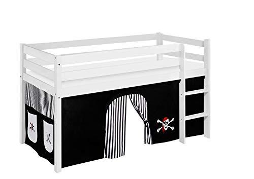 Lilokids JELLE Lit de Jeu avec Rideaux et sommier à Lattes Motif Pirates Noir/Blanc 90 x 190 cm