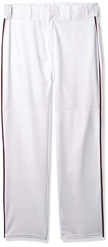 Alleson Ahtletic Men's Baseball Pants with Braid, 3X-Large, White/Maroon