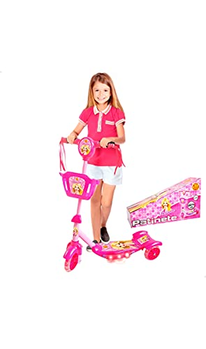 Patinete Belinda, DM Toys, Rosa, Com Luz, Som e Cesta