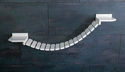 Jennys Tiershop Katzen Wandpark, Handgefertigte Tiermöbel/Luxusmöbel, Katzenmöbel in Vielen Ausführungen, Kratzbaum/Katzenbaum für die Wand. Hier: Hängebrücke 110 x 20 cm weiß (O6)