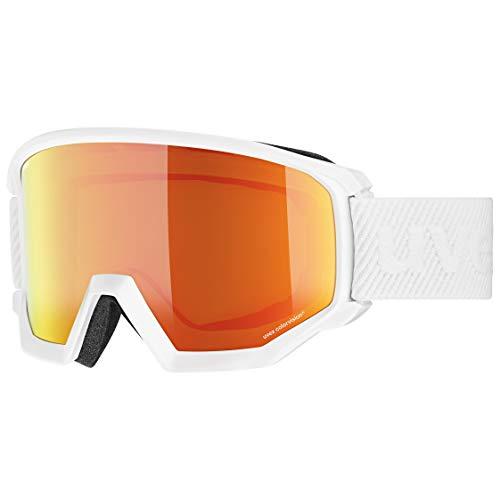 Uvex Unisex-Erwachsene Athletic CV Skibrille, White/orange-Green, one Size