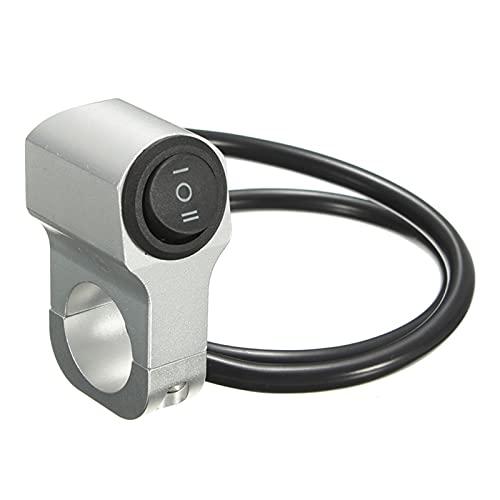 Controla el Interruptor de la luz 22 cm 7 / 8En Motorycle Manillar Mandarilla Interruptor de luz de Tres Posiciones Interruptor Impermeable 12V Foco de Refuerzo para manillares (Color : Silver)