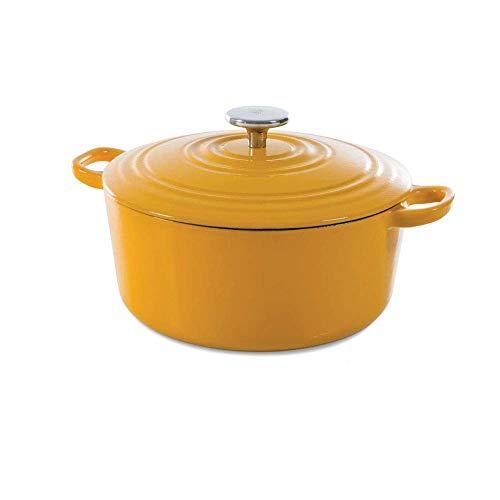 BK Cookware Cocotte en Fonte Émaillée avec Couvercle, adapté à tous les types de cuisinières, induction et four, 24cm / 4.2L, Jaune Ensoleillé