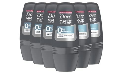 Dove Men + Care Clean Fresh 0% Aluminiumsalze Roll-On 6er Pack 24 Stunden Schutz männlicher Duft (6 x 50 ml)