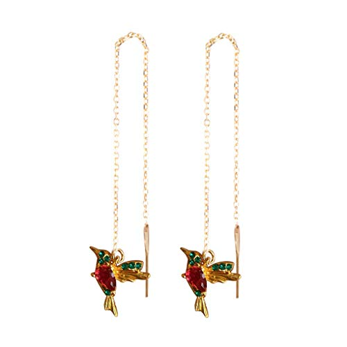 Janly Clearance Sale Women Earrings , Wing Spreading Zircon Hummingbird Long Pendant Earchain Lady Jewelry , Valentine's Day Birthday Jewelry Gifts for Ladies Girls (Red-Gold)