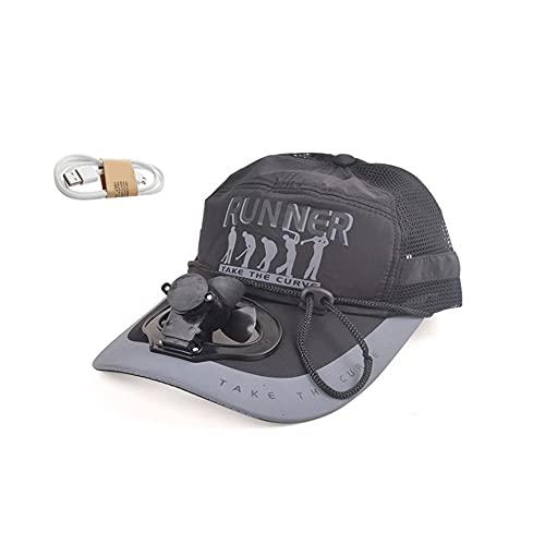 XZQ Gorra De Béisbol para Hombre, Sombrero De Pesca De Verano, Sombrero para El Sol con Ventilador Recargable USB para Adultos para Viajes De Acampada Al Aire Libre (Color : Black)