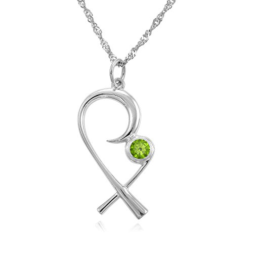 The Mommy Pendant - Silver Mother Child Necklace with (August) Birthstone Peridot - Designer Gift Box - Christmas, Push Present for wife, mom