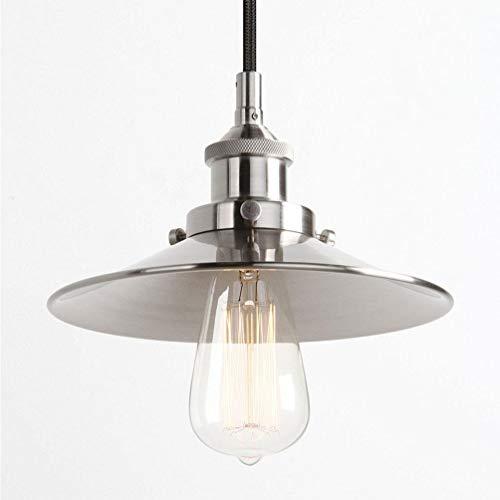 Lámpara de techo vintage de diseño industrial, de cromo, redonda, de hierro, con pantalla de lámpara, altura regulable, para pasillo, loft, bombilla Edison de 22 cm de diámetro, E27
