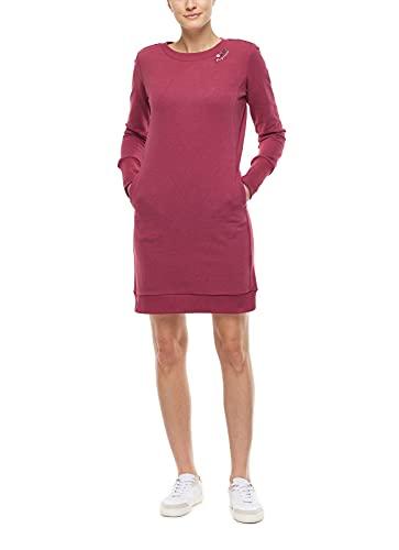 Ragwear MENITA Organic Damen Frauen Langarmkleid,Kleid,Freizeitkleid,Sweatkleid,Sweatshirt-Kleid,Winterkleid,warm,Regular Fit,Rot,S
