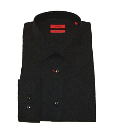 Hugo Hugo Slim-Fit Hemd Elisha aus Baumwolle mit Jacquard- Camouflage Muster schwarz 001 (42)